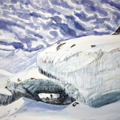 gornergletscher tongue glacier Zermatt Switzerland ski skiing painting Alps