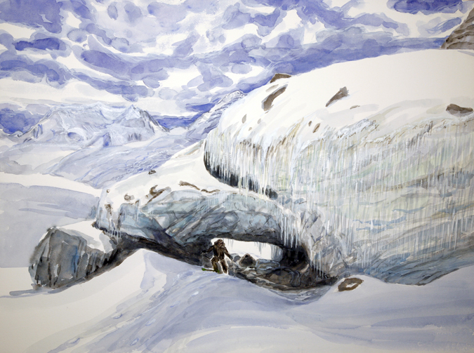 Roger skiing through ice tunnel at end of Gornergletscher Zermatt Switzerland - all melted now / watercolour on paper