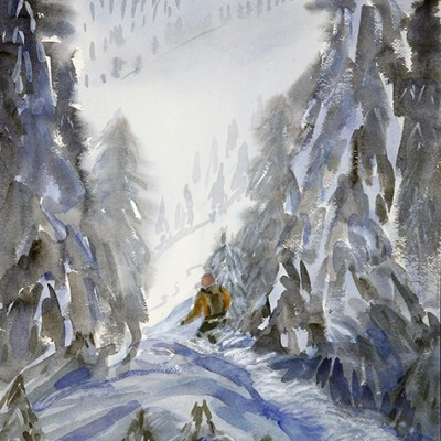Following Guide Amelie on Connector K3 Cat Skiing Monashee Mountains Canada - watercolour 55 x 36 cm £375