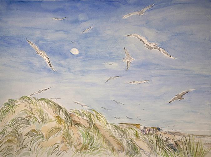 gulls camber sands kent painting