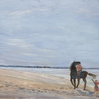 Horses frolicking on the beach in France - oil on wood panel 61 x 122cm - SOLD unframed