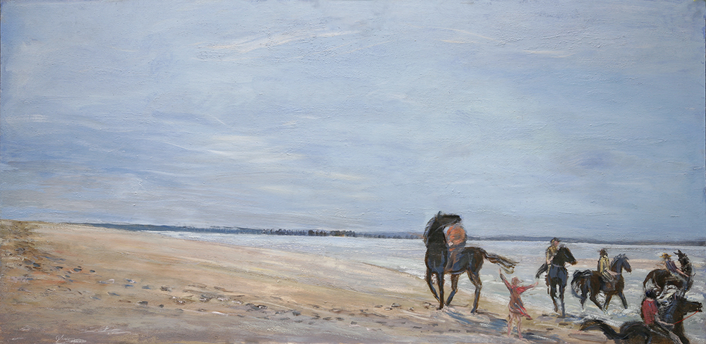 horses on beach france oil painting