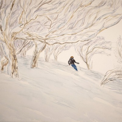 Quiet Descent in the Birches Japan - watercolour on paper 55 x 75 cm £575