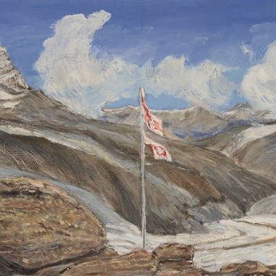 Alps painting monte rosa hut gorner glacier Zermatt