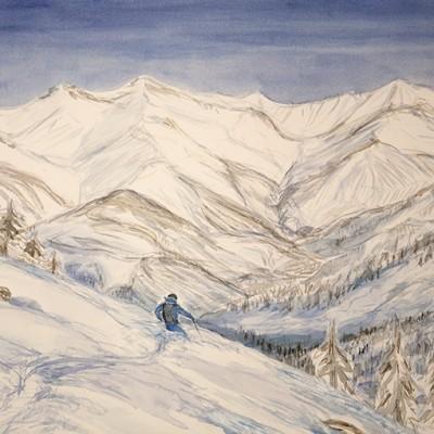Powder Descent to La Grave - watercolour on paper 43 x 55 cm £400