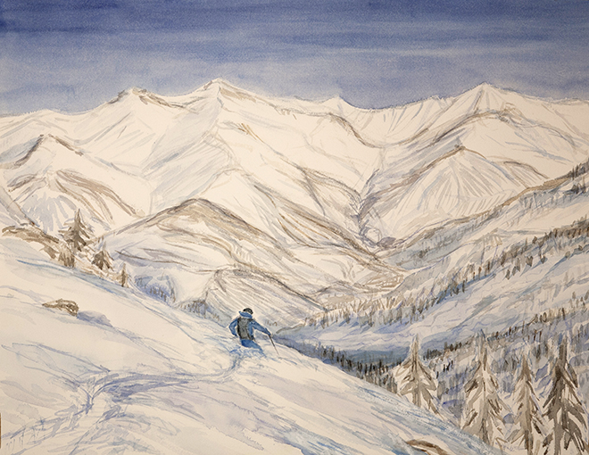 alpine painting La Grave powder skiing