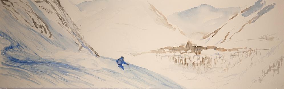powder la grave France alpine painting