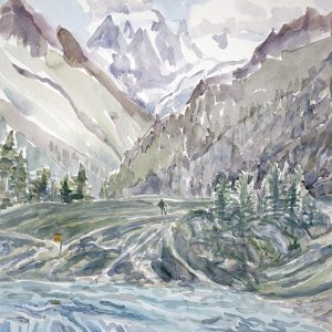 View to Mt Collon from Lac Bleu in Arolla - watercolour started outside plein air 75 x 55 cm
