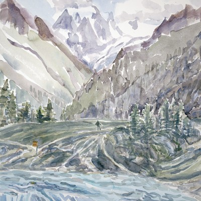 View to Mt Collon from Lac Bleu in Arolla - watercolour started outside plein air 75 x55 cm SOLD