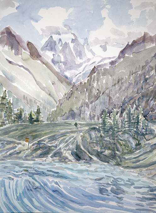 lac bleu mt collon Arolla Switzerland ski skiing painting Alps