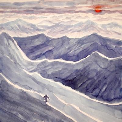 powder Dolomites Italy Alps skiing painting ski