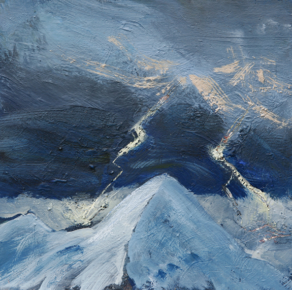 alps alpine painting oil lightning