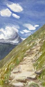 matterhorn alpine path gornerli Switzerland ski skiing painting Alps