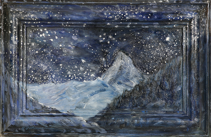 Matterhiorn and stars alpine oil painting alps mountain