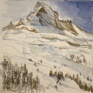 Sketch of Skiing below the Matterhorn - 36 x 36 cm
