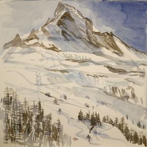 Sketch of Skiing below the Matterhorn - 36 x 36 cm