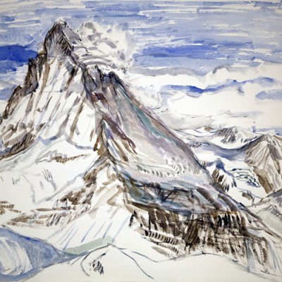matterhorn crystals clouds Zermatt switzerland ski skiing painting Alps