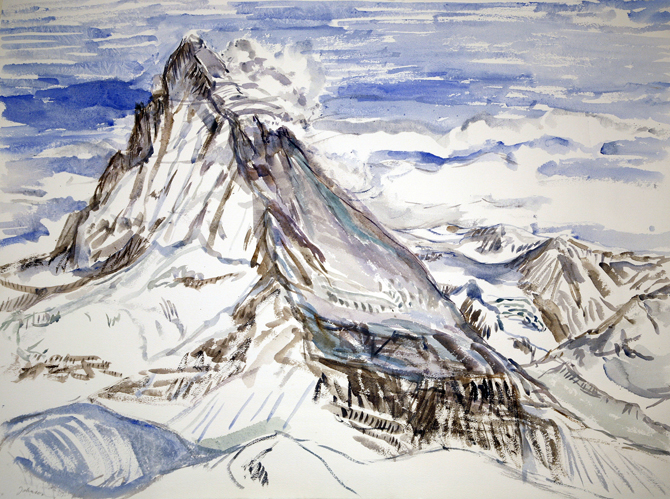 matterhorn crystals clouds Zermatt switzerland ski skiing painting Alps
