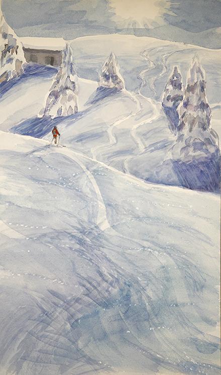 Menigwald skier alpine painting