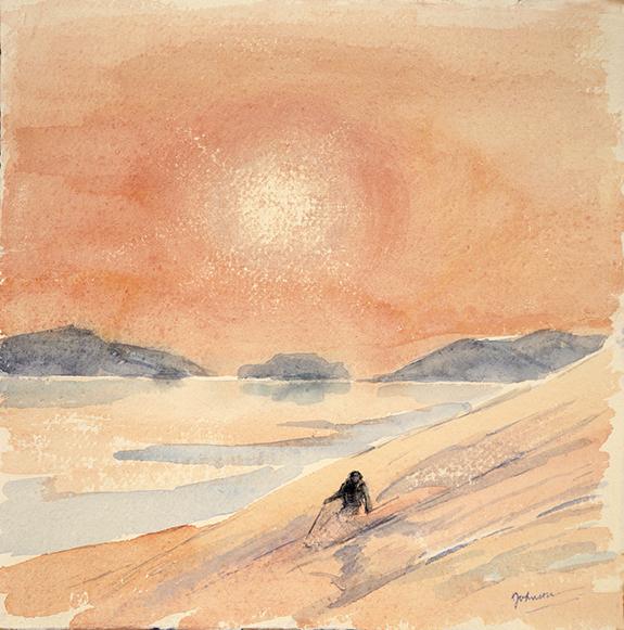 midnight sun Blatinden Uloya ski skiing painting Alps