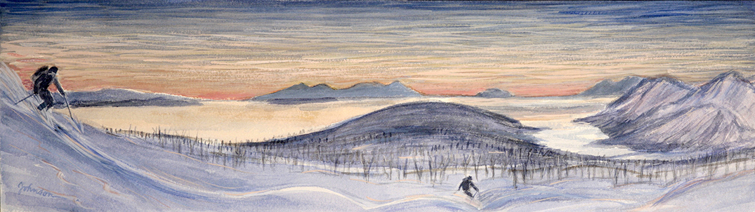 midnight sun nordlenangen skiing painting ski Norway