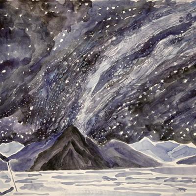 milky way above lake skier skiing painting ski Norway