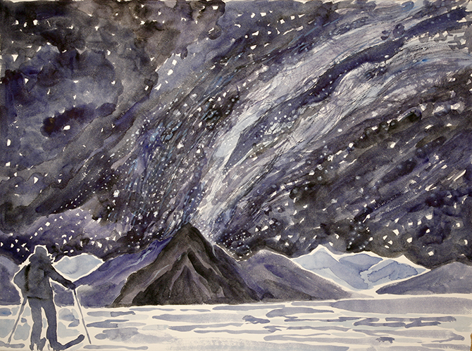 milky way above lake skier skiing painting ski Norway
