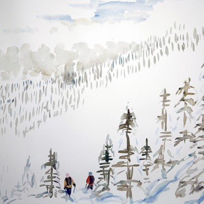 Skiers emerging from the mist and trees, K3 Cat skiing in the Monashee mountains - watercolour 55 x 75 cm £500