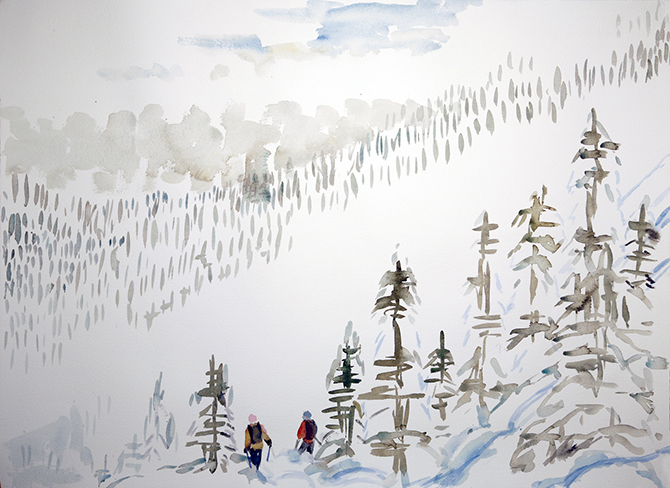 ski painting mist k3 cat skiing monashees
