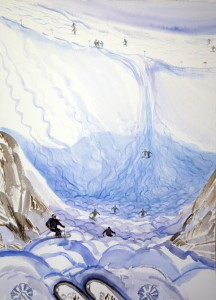 Schindler west face Austria ski skiing painting alps
