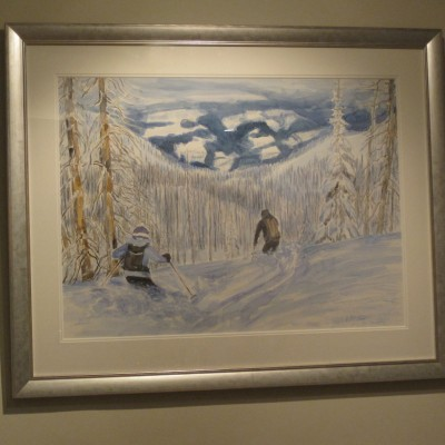 Silver metallic frame watercolour in two wide mount boards
