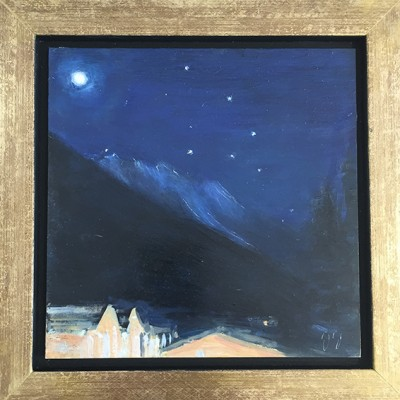 moon mont blanc oil alpine painting