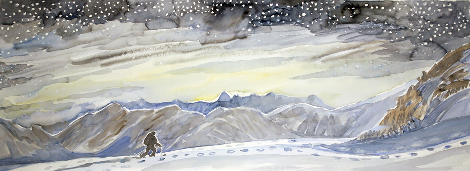skiing painting ski Alps morning skinning dix hut haute route