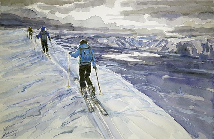 Blatinden Uloya skiing painting ski Norway