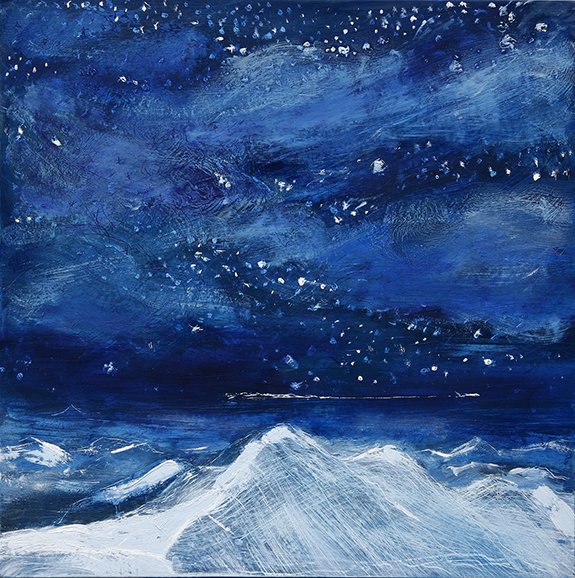 stars alps oil paining alpine zermatt