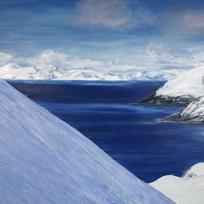 Skiing down North Face of Redotinden Lyngen Fjord Norway - oil on canvas 61 x 107 cm ££975