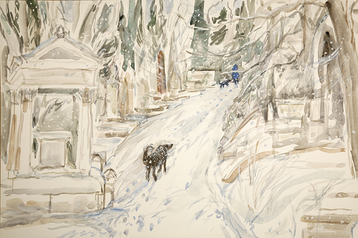 nunhead cemetery snow London