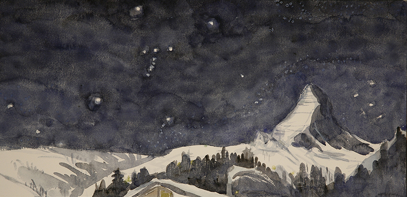 orions belts matterhorn switzerland ski skiing painting Alps