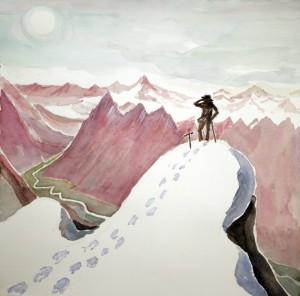 ruckenfigur oztal austria hiking ski skiing painting alps