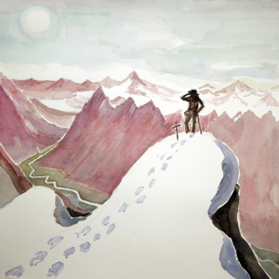 Ruckinfigur, Heroic Figure Standing on Summit  Austria - watercolour on Saunders paper 57 x 56 cm £475