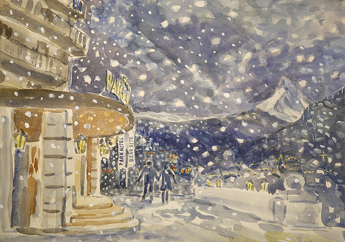 Christmas card for the 4 star hotel - Parkhotel Beausite in Zermatt Switzerland / watercolour on paper