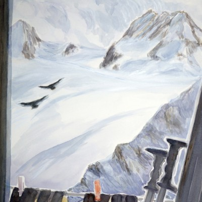 Alpine Choughs on the Wing ,View from the Vignettes Hut to Petit Mont Collon  56 x 38 cm  £475 unframed