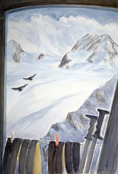 skiing painting ski Alps petit mont collon vignettes hut
