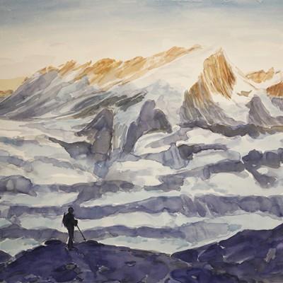 Morning Light on Pigne d Arolla from Moraine Path near Bertol Hut Switzerland - watercolour 55 x 75 cm  £600
