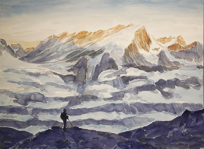 Alps Painting pigne d Arolla haute route bertol