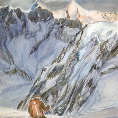 Skiing Down Powder on the Pigne d Arolla Alpenglow on Matterhorn and Dent D Herens on the Haute Route - watercolour 56 x 42 cm