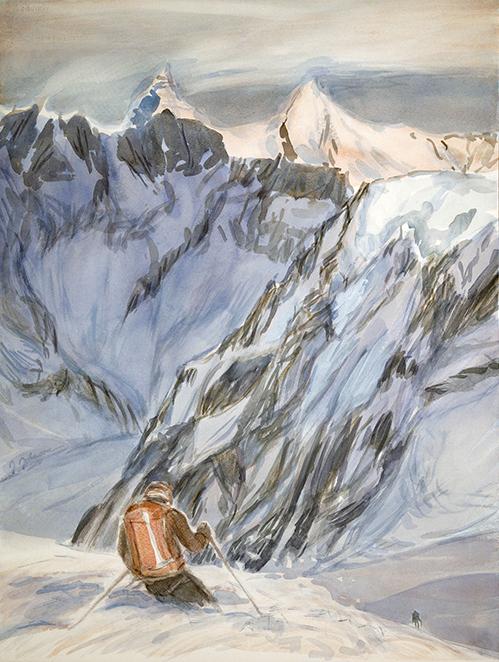 skiing painting ski Alps pigne d arolla alpenglow haute route