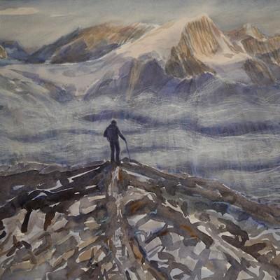 Morning Light on Pigne d Arolla from Moraine Path near Bertol Hut Switzerland  - watercolour 42 x 56 cm  £500