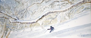 powder birch trees japan ski skiing painting