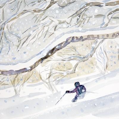 Quiet Powder Descent through Birch Trees in Japan - watercolour 48 x 21 cm SOLD